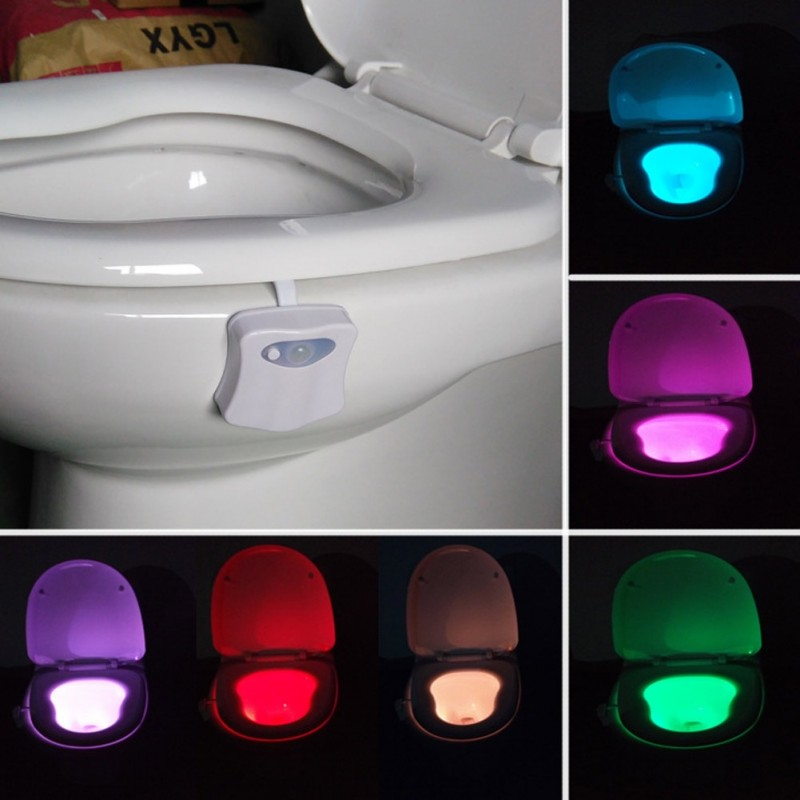 Nightlight LED Motion Sensor 8 Color Toilet Lamp