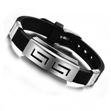 Silicone Rubber Stainless Steel Bracelet Unisex