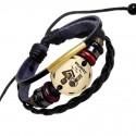 Zodiac Sings Leather Fashion Bracelet