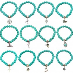 SHEEGIOR Boho Vintage Turquoises Bracelets for Women Men Cross Tree Snake Owl Hand Pendant Charm Bra