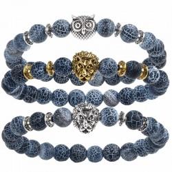 Bracelet Unisexe avec Pierres et Tête de Tigre Lion
