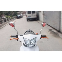 Motorcycle - scooter mirrors with chrome skeleton hands