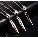 Bullet Pendant Stainless Steel Necklace