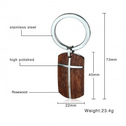 Vnox Wood Key Chain for Men Women High Quality Stainless Steel Cross Top Quality Rosewood Wooden Key