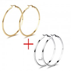 Vnox Round Hoop Earrings for Women Big Stainless Steel Jewelry Gold-color  Silver-Color 2 pair  lo