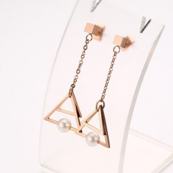 Triangle Pearl Drop Earrings