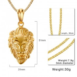 Lion head pendant golden necklace