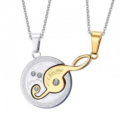 Music Design Pendant Couples Necklace Set 2pcs