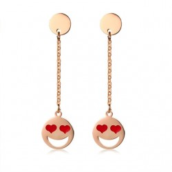 Stainless Steel Red Heart Long Earrings
