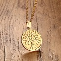 Tree of Life Round Pendant Stainless Steel Necklace