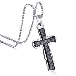 Collar con Cruz Española y Biblia en Acero Inoxidable