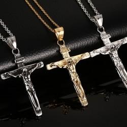 Collier avec croix vintage acier inox