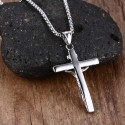 Vintage Crucifix Pendant Stainless Necklace