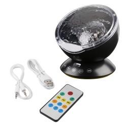 Fale oceanu - gwiaździste niebo - lampka nocna LED USB - projektor