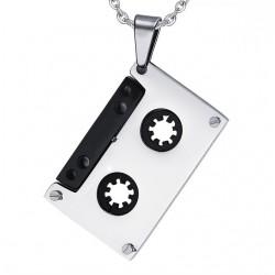 Punk kassettband hänge - rostfritt stål halsband - unisex