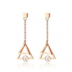 Boucles d'oreilles pendents perle et triangle