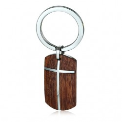 Stainless Steel Cross Wooden Keyring Keychain