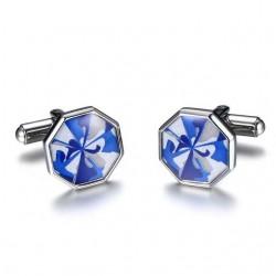 Gemelos octagonales de acero inox azules