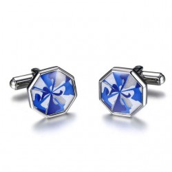 VNOX Octagon Blue Cuff Links for Men Top Quality Stainless Steel Fashion Mens Sleeve Nail Cufflinks