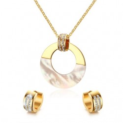 Crystal Pearl Gold Stainless Steel Jewellery Set