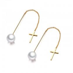 Pendientes elegantes largos con perlas