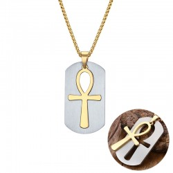 Removable Egyptian Cross Pendant Stainless Steel Necklace