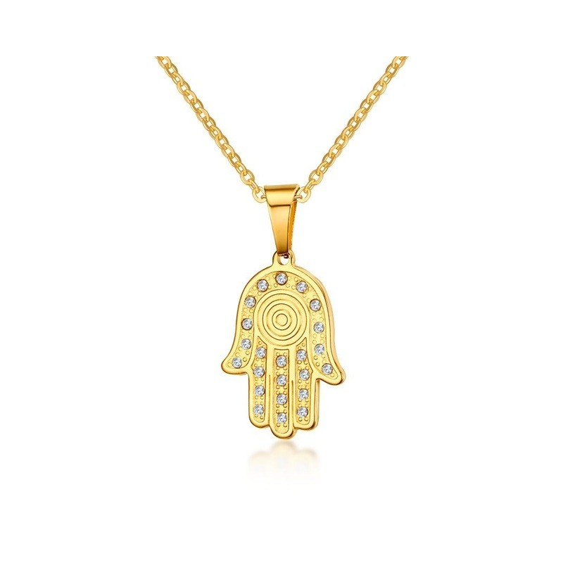Rhinestone Palm Hand Shaped Pendant Necklace