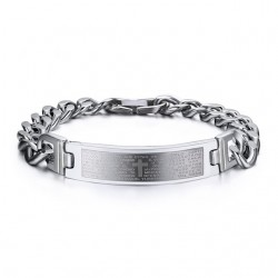 Spanish Bible Cross Stainless Steel Bracelet
