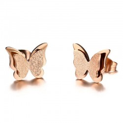 Vnox Small Butterfly Women Stud Earrings Matt Surface Stainless Steel Cute Daily Girl Earings Jewelr