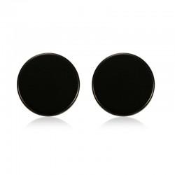 Boucles d'oreilles ronds bouton noirs et argent
