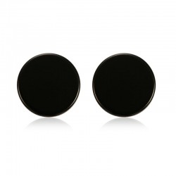 Pendientes redondos botòn negros y plata