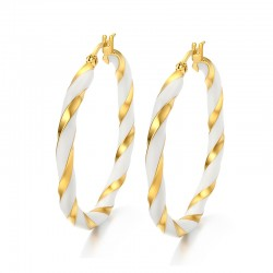 White & Gold Big Hoops Earrings