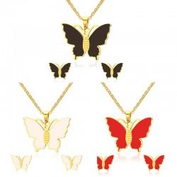 Motyl Kolczyki & Naszyjnik Zestaw Biżuterii