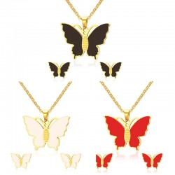 VNOX Stainless Steel Butterfly Necklace and Earrings Jewelry Sets 20inch Chain indian jewellery