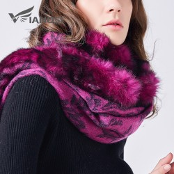 Luxury Real Fur Shawl Wool Scarf