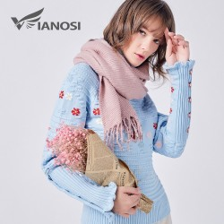 VIANOSI Solid Acrylic Scarf Women Tassel Winter Scarf Warm Long Shawl Fashion Bufandas Mujer 2017 Fo