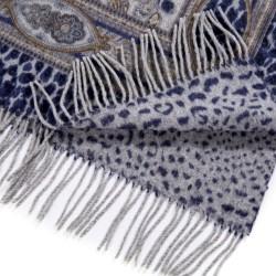 Luxury Real Fox Fur Collar Wool Winter Scarf Poncho