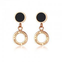 Vnox Love Drop Earrings for Women Vintage Rose Gold-color Hanging Earrings Anniversary Gift Bijoux