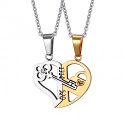 Vnox Key  Lock Heart Shape Necklace for Women Men Pendant Couple Necklaces Lover Friendship Jewelry