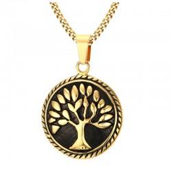 Tree of Life runder Anhänger mit Halskette aus Edelstahl