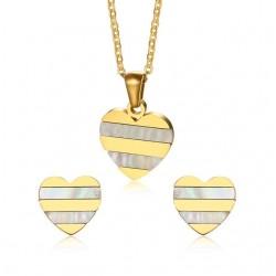 Conjunto de Joyas con Pendientes y Collar con Corazón en Oro y Perla