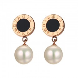 Simulated Pearl Roman Numerals Earrings