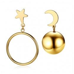 Star & Mond Asymmetrische Ohrringe