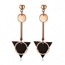 Vnox Geometry Double Circle Triangle Plate Drop Earrings for Women Stainless Steel Long Danlge Earri