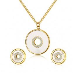 Muszla & Cyrkonie Okrągły Elegancki Zestaw Biżuterii