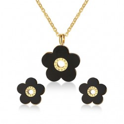 Ensemble de Bijoux Rétro avec des Fleurs Noires