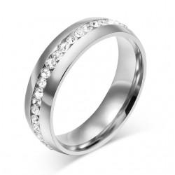 Złoty & srebrny klasyczny pierścionek z cyrkonią