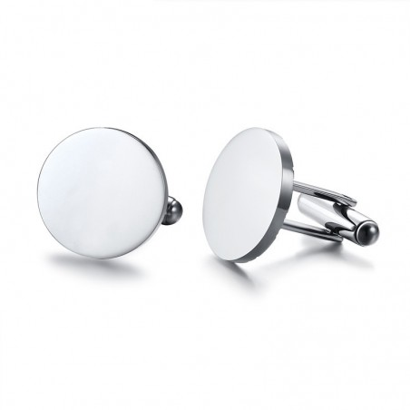 Stylish Round Stainless Steel Cufflinks