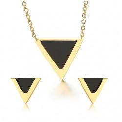 Trójkątne kolczyki i naszyjnik - zestaw biżuterii