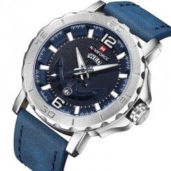 Naviforce Leather Strap Sports Quartz Watch